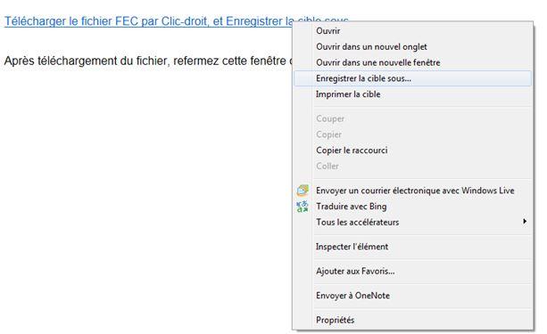 Export FEC enregistrer sous