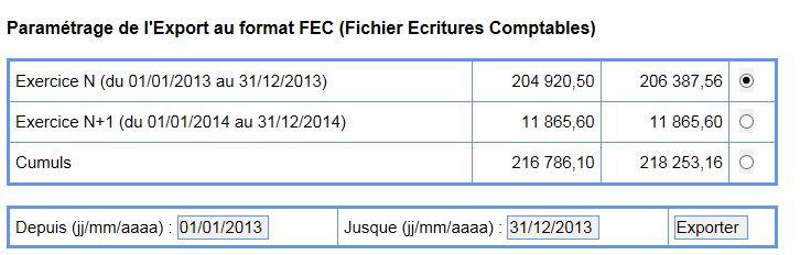 Paramétrage export FEC