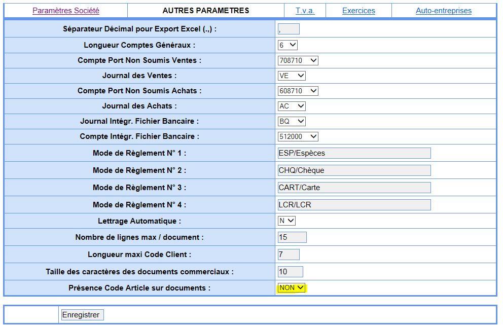 Parametre affichage code article