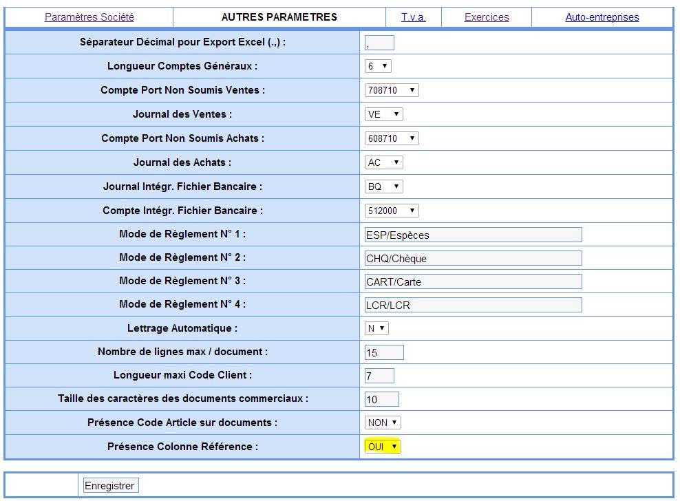 Parametre affichage colonne référence