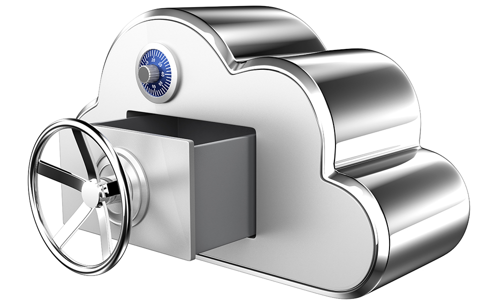 Cloud computing security concept. Clipping path available.